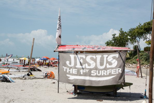 Jesus 1st surfer sign in Jericoacoara, Brazil