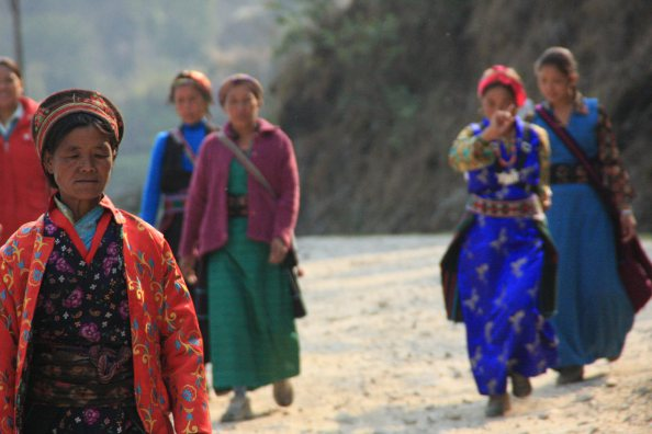 Nepalese women in traditional dress, Nepal