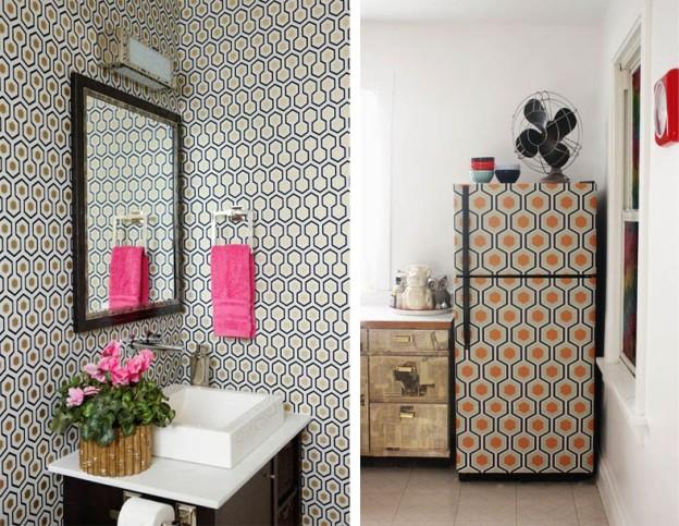 Hicks Hexagon Wallpaper Interior Decor Fridge Bathroom
